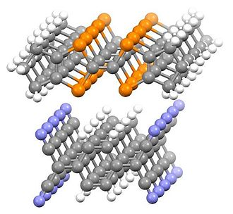 Charge-transfer complex - End-on view of portion of crystal structure of hexamethyleneTTF/TCNQ charge transfer salt.  The distance between the TTF planes is 3.55 Å.