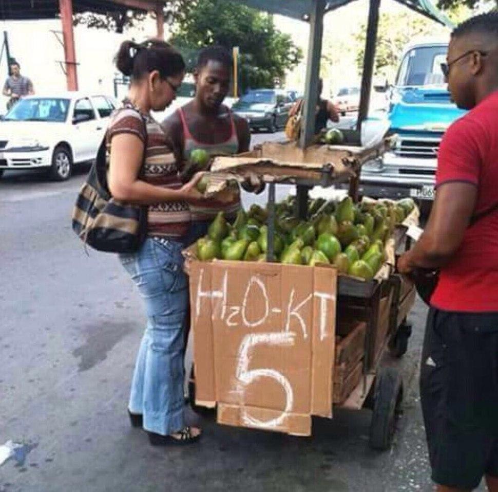 Selling avocados in Santo Domingo, DR