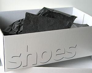 "A shoe box with ""shoes"" written on t..."