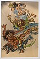 Shoki Riding a Tiger and Attacking a Group of Demons, May from Twelve Months, Kawanabe Kyosai, detail, 1887, print - Jordan Schnitzer Museum of Art, University of Oregon - Eugene, Oregon - DSC09386.jpg