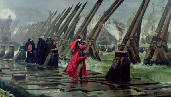 Cardinal Richelieu at the Siege of La Rochelle (1627–1628) by Henri-Paul Motte, 1881.