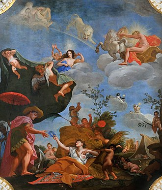 Plafond - Plafond Allegory of Summer by Jerzy Siemiginowski-Eleuter, 1684–86, oil on canvas and panel, Wilanów Palace, Warsaw.