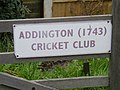 Sign on gate to the entrance to Addington Cricket Ground - geograph.org.uk - 962272.jpg