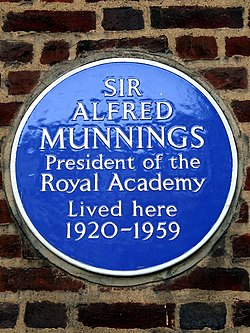 Photo of Alfred Munnings blue plaque