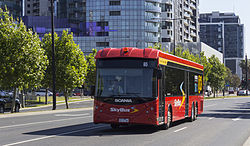 Skybus number 65 (5177AO) Scania in Wurundjeri Way, 2013.JPG