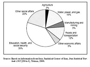 Politics of Iran - National Budget Expenditures for Social and Economic Purposes, Fiscal Year 2004. Government spending as percent of total budget was 6% for health care, 16% for education and 8% for the military in the period 1992–2000 and contributed to an average annual inflation rate of 14 percent in the period 2000–2008.