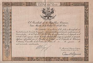 Order of the Sun of Peru - Certificate confirming that the Order of the Sun of Peru was conferred on Ernesto Burzagli in the name of the President of the Peruvian Republic in 1924.