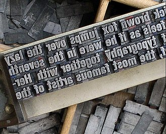 Sort (typesetting) - Metal type sorts arranged on a composing stick.