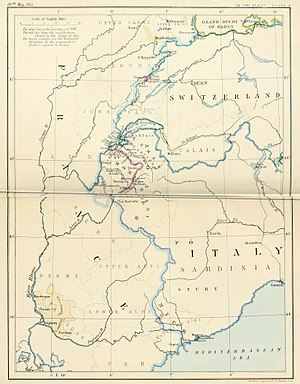 Treaty of Paris (1814) - South-east frontier of France after the Treaty of Paris, 1814.