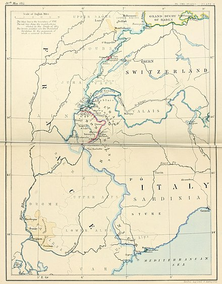 Southeast frontier of France after the Treaty of Paris (1814) South-east frontier of France after the Treaty of Paris, 1814.jpg