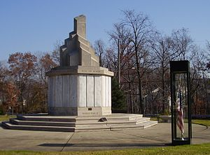 South Euclid, Ohio - After the demolition of Victory Park Elementary School in 1983, the South Euclid War Memorial (shown here) was re-dedicated at its current location: the intersection of South Green and Anderson Roads.