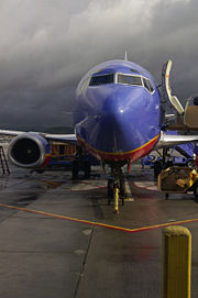 A Southwest plane prepares for its next flight at Bob Hope Airport in Burbank, California