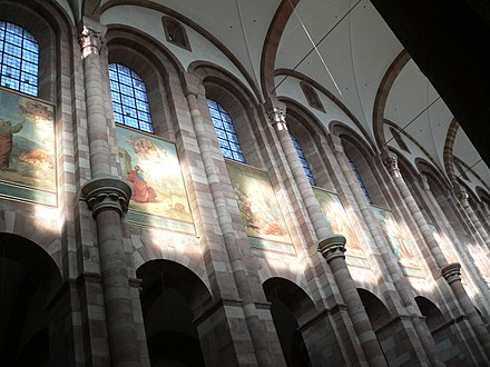 Architectural details of the nave, and paintings by Johann Schraudolph