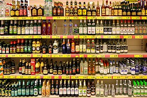 Distilled beverage - A display of various distilled beverages in a supermarket