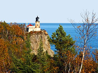North Shore (Lake Superior) - Split Rock Lighthouse on Lake Superior's North Shore. The lighthouse and grounds are a Minnesota state park.
