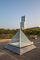 Square pyramid skylight on the roof with Abeno Harukas in sunset - HDR.jpg