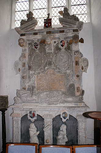 Walter Erle (died 1581) - Giffard monument in Chittlehampton Church with recumbent effigy of John Gifford (d.1622), husband of Honor Erle. At the top of the monument are shown the quartered arms of Giffard (Sable, three fusils conjoined in fess ermine) impaling Erle