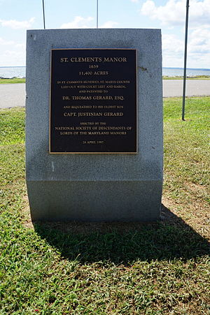 St. Clement's Island State Park - St Clement's Manor plaque at St Clement's Island State Park