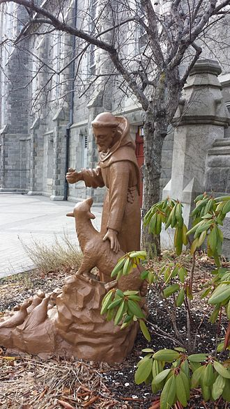 Cathedral of Saint Paul (Worcester, Massachusetts) - Statue of St Francis outside St. Paul Cathedral in Worcester, MA