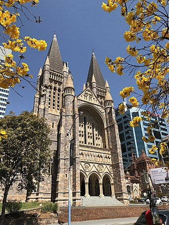 St John's Cathedral. Christianity is Brisbane's largest religion. St John's Cathedral, Brisbane facade in spring 2017.jpg