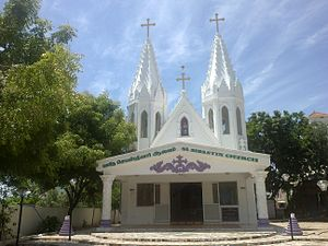 Velankanni - St Sebastian Church at the entrance of the city