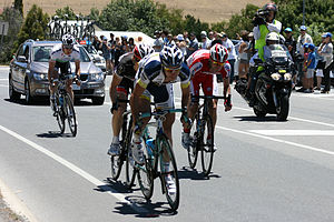 2012 Tour Down Under - The day's breakaway approaching the first intermediate sprint point of the stage, at Mount Compass. Thomas De Gendt leads Jan Bakelants, Eduard Vorganov and Matt Brammeier.
