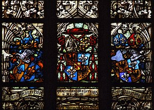 Part of stained glass in Saint Maurice church, Olomouc (Olmütz), Moravia