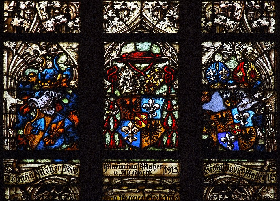 Stained glass in Saint Maurice churche, Olomouc