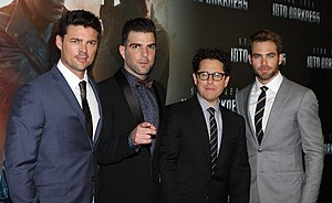 Karl Urban - Urban, Zachary Quinto, J. J. Abrams, and Chris Pine, at the Star Trek Into Darkness in Sydney, Australia movie premiere, in April 2013