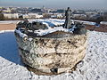Statue of Lookout rock (SW). - Gellért Hill, Budapest.JPG