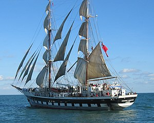 Tall Ships Youth Trust - The Stavros S Niarchos under full sail off the Isle of Wight in October 2003