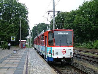 """Strausberg - Tram 22 at southern terminus """"Vorstadt"""""""