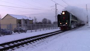 Файл:Steam locomotive P-36 at the Fryazevo station.webm