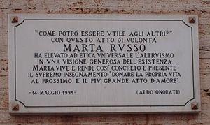 Murder of Marta Russo - The Plaque in memory of Marta Russo, University of Rome La Sapienza.