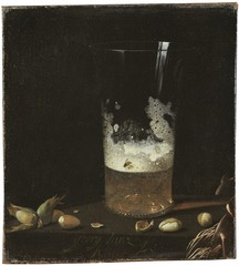Still Life with a Glass of Beer and Nuts