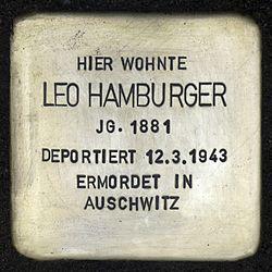 Photo of Leo Hamburger brass plaque