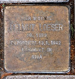 Photo of Helmut Loeser brass plaque