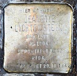Photo of Jeanette Lichtenstein brass plaque