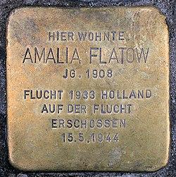 Photo of Amalia Flatow brass plaque