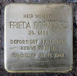 Photo of Frieda Bernhard brass plaque