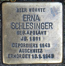 Photo of Erna Schlesinger brass plaque