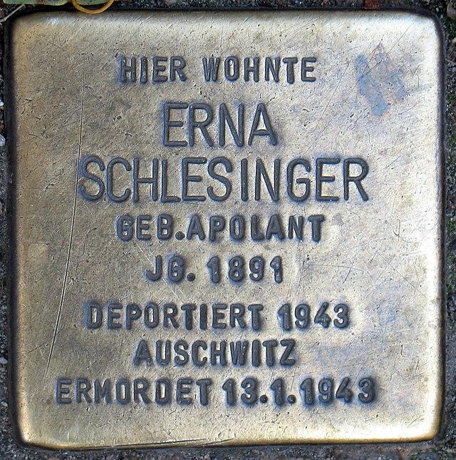 Photo of Erna Schlesinger brass plaque