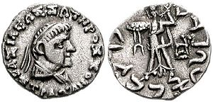 "Strato II - Coin of Strato II. Obv: Bust of Strato II. Greek legend: BASILEOS SOTEROS STRATONOS ""Of King Strato the Savior"". Rev: Athena holding a thunderbolt. Kharoshthi legend: MAHARAJASA TRATARASA STRATASA ""King Strato the Saviour""."