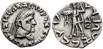 "Strato II - Coin of Strato II. Obv: Bust of Strato II. Greek legend: BASILEOS SOTEROS STRATONOS ""Of King Strato the Savior"". Rev: Athena holding a thunderbolt. Kharoshthi legend: MAHARAJASA TRATARASA STRATASA ""King Strato the Saviour""."