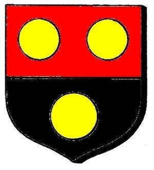 Streatfeild family - The Streatfeild coat of arms:  Per fess gules and sable, three bezants