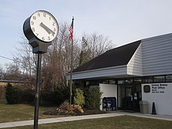 Street clock in front of the Mastic Post Office on Montauk Highway