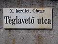 Street sign, Téglavető utca, Óhegy, 2018 Kőbánya.jpg
