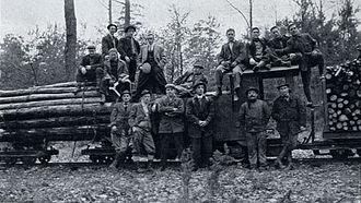 Biltmore Forest School - Students from the Biltmore Forest School inspecting a forest rail line, Darmstadt, Germany, c. 1912