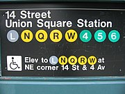Typical Subway Entrance signage (14th Street-Union Square Station)