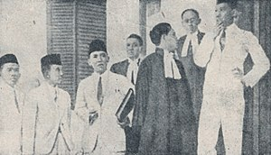 Sukarno - Sukarno with fellow defendants and attorneys during his trial in Bandung, 1930.